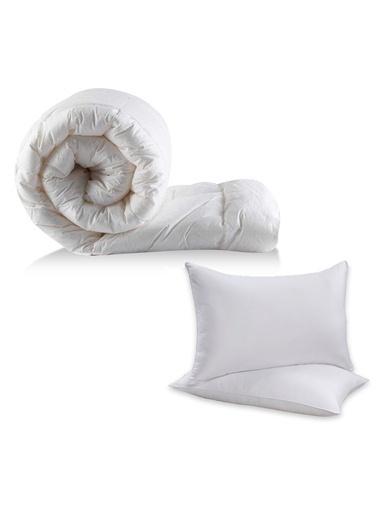Alla Turca Çift Kişilik Silikon Yorgan + 2 Yastık Beyaz